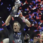 Tom Brady celebrates with another Super Bowl trophy. (Photo: Twitter)