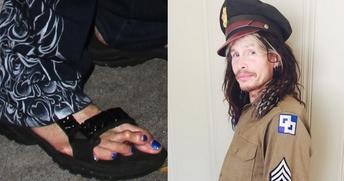 "Steven Tyler's ghastly ""lob-toe."" (Photo: Twitter)"