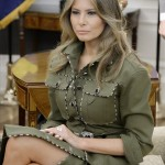 Melania's olive-green dress. (Photo: Twitter)