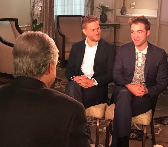 """Robert Pattinson and Charlie Hunnam, co-stars in """"The Lost City of Z,"""" are making promo appearances together. (Photo: Twitter)"""