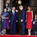 Melania and the President greet the Chinese first family. (Photo: Twitter)