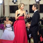 But her photobombing skills were perfected at this year's Golden Globes, when she snuck up on Taylor Swift's red-carpet interview. (Photo: Archive)