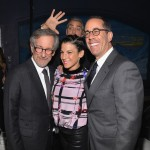George Clooney surprises Steven Spielberg and Jessica and Jerry Seinfeld. (Photo: Instagram)