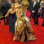 Jennifer Lawrence's photobombing career started with this surprise attack on Sarah Jessica Parker at last year's Met Gala. (Photo: Archive)