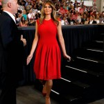 A red Alexander McQueen dress as the Trumps arrive for a rally in Florida. (Photo: Archive)