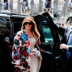 A floral applique coat by Dolce & Gabbana over a cream dress for the G7 summit. (Photo: Archive)
