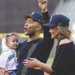 John Legend posted a picture of him with his family after Luna nailed the MLB tradition. (Photo: Instagram)