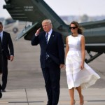 A white Roksanda fit and flare dress to depart Tel Aviv with husband Donald Trump. (Photo: Archive)
