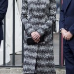 In a black and white patterned Missoni coat dress. (Photo: Archive)