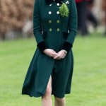 In a forest-green Catherin Walker coat dress. (Photo: Archive)