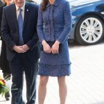 Kate wearing a blue skirt suit with metallic thread by Rebecca Taylor. (Photo: Archive)