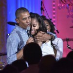 Obama singing Happy Birthday to Malia when she turned 18. (Photo: Archive)