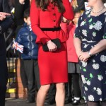 Wearing a bright red Luisa Spagnoli peplum skirt suit. (Photo: Archive)