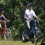 Riding their bikes in Martha's Vineyard, Massachusetts, in 2010. (Photo: Archive)