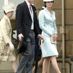 The Duchess wearing a pale blue Christopher Kane silk satin coatdress. (Photo: Archive)