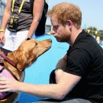 Harry petting medical alert dog Jasmin, while touring the ESPN Wide World of Sports complex. (Photo: Archive)