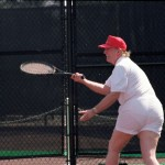 While his golf attire is not our favorite, it also isn't the worst sports-wear outfit we've seen on him. I would probably let him win that tennis match just so that I wouldn't have to keep looking at his extra sheer, totally see-through, too short shorts. (Photo: Archive)