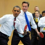 Obama and Britain's Prime Minister David Cameron play table tennis at the Globe Academy. (Photo: Archive)