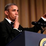 "President Obama says ""Obama out!"" at the White House Correspondents' Association annual dinner. (Photo: Archive)"