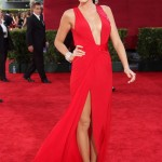 Wearing a Versace red gown for her first time at the Emmys. (Photo: Archive)