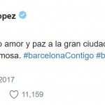 """Sending lots of love and peace to the great city of Barcelona and its beautiful people."" Jennifer Lopez. (Photo: Twitter)"