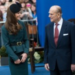 Duchess of Cambridge and the Duke of Edinburgh smiling at each other during a visit to Leicester on March 8, 2012. (Photo: Archive)