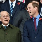 Prince William sharing a few laughs with his grandpa at the Rugby World Cup in October 2015. (Photo: Archive)