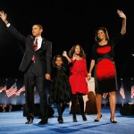 President-elect Obama stands on stage with Michelle, Malia and Sasha during election-night in Chicago. (Photo: Archive)