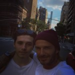 """""""Englishmen in New York,"""" wrote papa Beckham in a picture with his son. (Photo: Instagram)"""