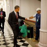 Obama fist-bumps custodian Lawrence Lipscomb in the Eisenhower Executive Office Building. (Photo: Archive)