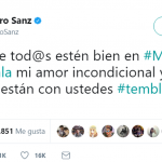 """I hope everyone is good in Mexico and Guatemala. My unconditional love and prayers are with you #earthquake."" Alejandro Sanz (Photo: Twitter)"