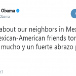 "Barack Obama send a message in English and Spanish to ""our neighbors in Mexico"". (Photo: Twitter)"