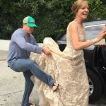 Sofia Vergara isn't the only one having trouble getting in the car, y'all! Allison Janney almost didn't make it. (Photo: Instagram)