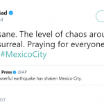 Josh Gad couldn't help to remember the rest of the natural disasters happening around the world. (Photo: Twitter)