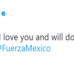 Brie Larson used the hashtag #FuerzaMexico to send a message on Twitter. (Photo: Twitter)