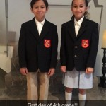 Jenny from the block shared a snap of twins Max and Emma ready for their first day of fourth grade. (Photo: Instagram)
