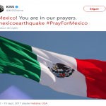 Kiss posted a picture of the Mexican flag along with a message of support. (Photo: Twitter)