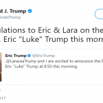 President Trump congratulated his son and daughter-in-law on the social media. (Photo: Twitter)
