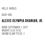 "The video ends with the baby's stats, including ""Grand Slam Titles: 1."" (Photo: Instagram)"