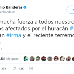 """Much, much strength to our brothers affected by hurricane Harvey, hurricane Irman, and the recent earthquake in Mexico."" Antonio Banderas (Photo: Twitter)"