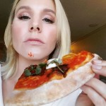 You've got a little succulent, mighty, pizza sauce in your face, Kristen Bell. (Photo: Instagram)