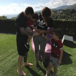 Leo Messi and Antonella Roccuzzo have confirmed their third pregnancy in a cute family portrait she posted on Instagram, alongside their two children, Thiago and Mateo. (Photo: Instagram)