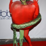 Heidi Klum hided her notorious 2006 baby bump with a bloody apple plus snake costume, recreating the scene of the original sin. (Photo: Instagram)