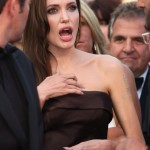 Angelina Jolie after hearing the Brad Pitt and Kate Hudson romance rumors. (Photo: WENN)