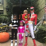 Kourtney, Mason, Penelope, and Reign dressed up as a family of Power Rangers. (Photo: Instagram)