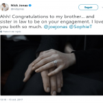 Nick Jonas was among the first to congratulate the couple. (Photo: Twitter)