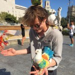 Natalia shared a picture of Charlie with the iconic Spaniard tie-dyed pigeons just three days after posting a picture of La Sagrada Familia. Maybe they were on a romantic getaway together. (Photo: Instagram)