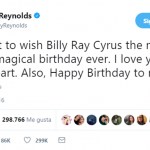 He also tweeted about her birthday, not before celebrating Billy Ray Cyrus special day. (Photo: Twitter)