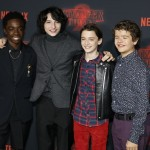 The Stranger Things best friends were all together: Caleb McLaughlin, Finn Wolfhard, Noah Schnapp, and Gaten Matarazzo posed on the carpet. (Photo: WENN)