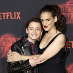 Onscreen mom and son, Noah Schnapp and Winona Ryder. Where's Charlie Heaton, tho?! (Photo: WENN)